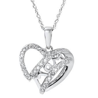 White Gold 1/8ct Genuine Diamond Heart MOM Pendant