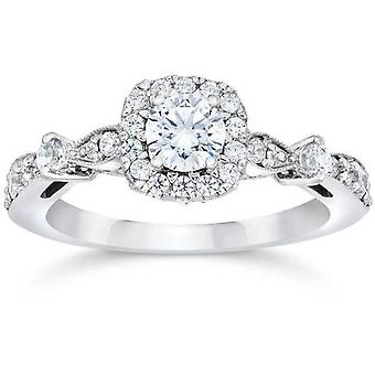 Verona 1ct Cushion Halo Diamond & Blue Sapphire Engagement Ring 14K White Gold