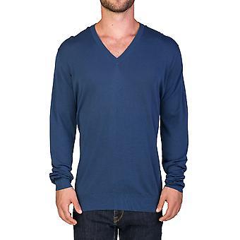 Coton v-Neck pull bleu Prada homme