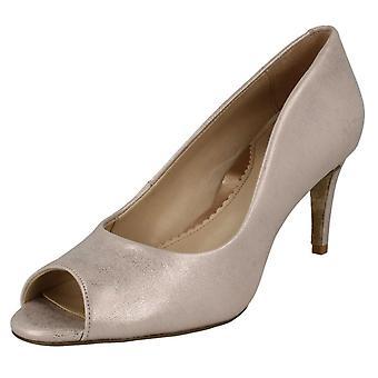 Ladies Van Dal Peep Toed Heels Heigham - Bamboo Metallic Leather - UK Size 8D - EU Size 42 - US Size 10