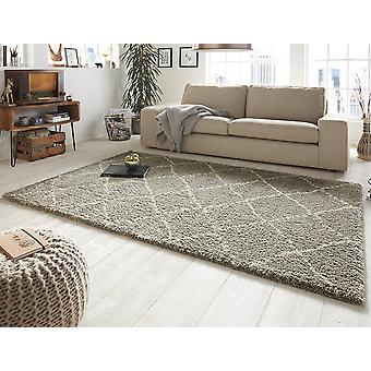 Design velour carpet deep pile hash grey cream