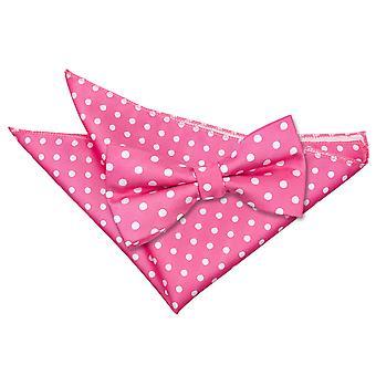 Hot Pink Polka Dot Bow Tie & Pocket Square Set