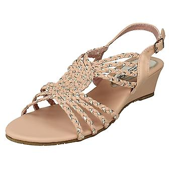 Ladies spot su Wedge sandali F10036 (albicocca/oro) UK 6