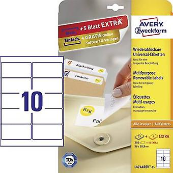 Avery-Zweckform L4744REV-25 Labels 96 x 50.8 mm Paper White 300 pc(s) Removable All-purpose labels Inkjet, Laser, Copier