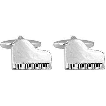 David Van Hagen Grand Piano Cufflinks - Silver/Black/White