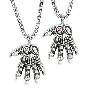 Varulv Paws overnaturlige amuletter kjærlighet par beste venner rosa lilla krystall anheng halskjede