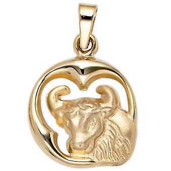 Hanger van dierenriem, sterrenbeeld Stier 375 mat gedeeltelijk goud geel goud
