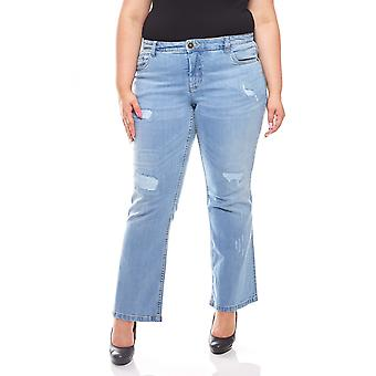 sheego ladies stretch denim used look long size plus size blue