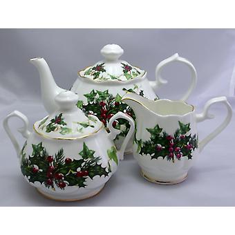 English Bone China Teapot with Cream Jug and Covered Sugar bowl