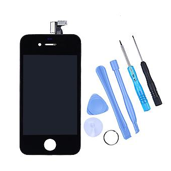 Apple Iphone 4 4G Black Full LCD Display + Touch Screen Digitizer Front Glass Lens Part Assembled Together with Tools