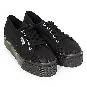 Superga Women's 2790 Linea Up Down Flatform Canvas Trainer Full Black