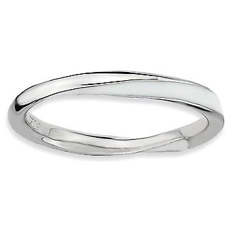 Argento lucidata placcato in rodio ritorto bianco smaltato 2.5 x 2,25 mm impilabile anello - anello taglia: 5-10