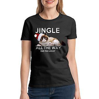 Grumpy Cat Jingle Far Away Women's Black Funny T-shirt