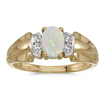 14k gult gull ovale Opal og Diamond Ring