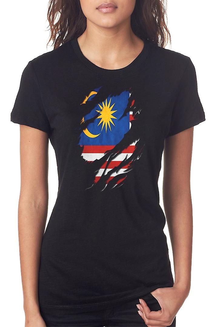 Malaysian Grunge Flag Ripped Effect Ladies T Shirt