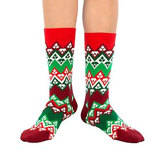 Mountain Flake luxury combed cotton crew socks in red | Made by Ballonet