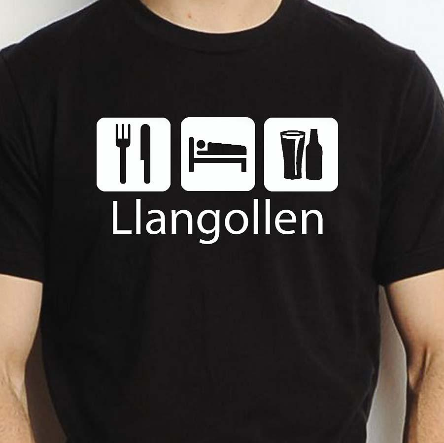 Eat Sleep Drink Llangollen Black Hand Printed T shirt Llangollen Town