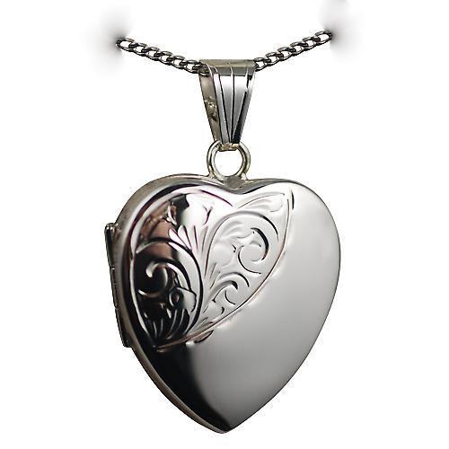 Silver 24x20mm half hand engraved heart shaped Locket with a curb Chain 20 inches