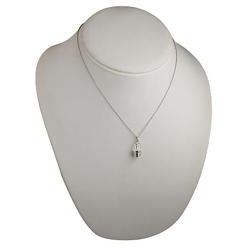 Silver 28x10mm Champagne Bucket Pendant with a rolo Chain 18 inches