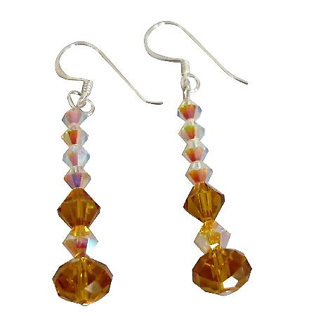 AB & Topaz Crystals Sterling Silver French Wire Earrings