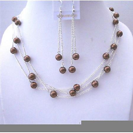 Bridemaides Bronze Faux Pearl 3 Stranded Handcrafted Necklace w/ Dangling Earrings Jewelry  Set