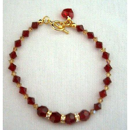 Genuine Swarovski Red Siam Crystal In 22k Gold Plated Bracelet w/ Heart Dangling Toggle Clasp