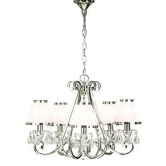 Oksana níquel cinco luz de techo colgante con tonos blanco - interiores 1900 63515