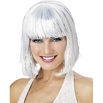 White Shimmering Bob Wig For Women