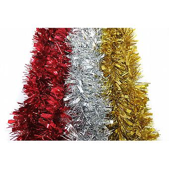 Decorative Foil Christmas Tinsel 2mX10Cm Chunky Thick And Thin Silver Pack of 3 (XA4629)
