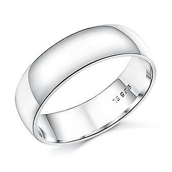 925 Sterling Silver 6 Mm Width D-shape Solid Plain Wedding Band