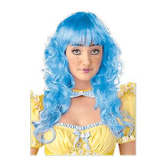 Womens Doll Curly Long Blue Wig Popstar Fancy Dress Costume Accessory