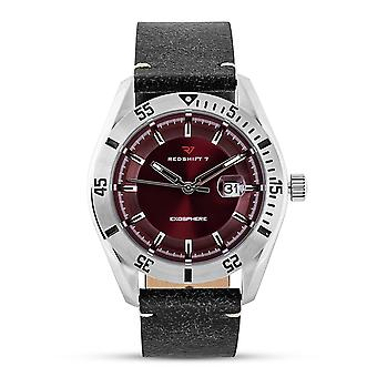 Redshift 7 Exosphere Leather-Band Watch w/Date - Black/Red