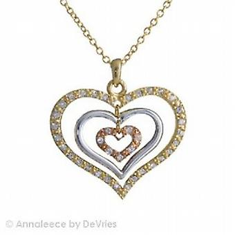 Annaleece Triple Tone Heart Pendant Set With Crystals