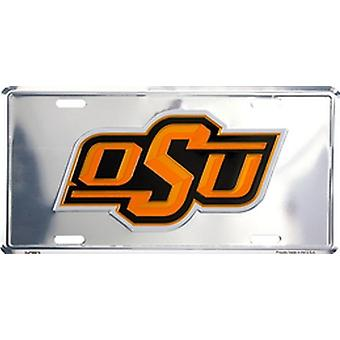 Oklahoma State Cowboys NCAA Silver Mirror License Plate
