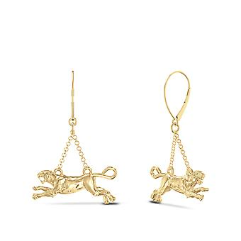 University Of Pittsburgh - Pitt Panther Drop Earrings In 14K Yellow Gold