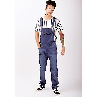 Mens organic denim slim fit dungarees dark wash
