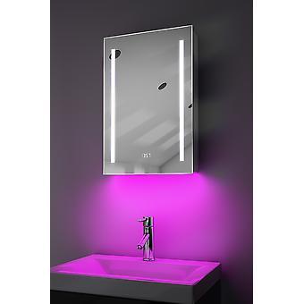 Clock Cabinet With LED Under Lighting, Demister, Sensor & Shaver k384