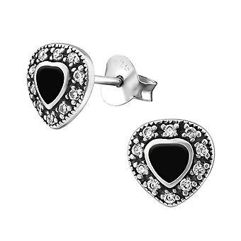 Heart - 925 Sterling Silver Cubic Zirconia Ear Studs - W30955X