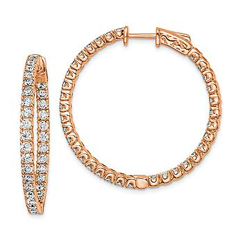 925 Sterling Silver Polished Prong set Hinged hoop Safety clasp Rose Gold-Flashed Pink Plated With Cubic Zirconia Round