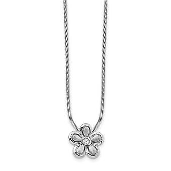 Gift Boxed Rhodium-plated Polished and satin Lobster Claw Closure White Ice .02ct. Diamond Flower Necklace - 18 Inch