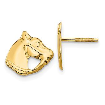 14k Yellow Gold Polished Screw back Post Earrings Horse Head for boys or girls Earrings - Measures 10x10mm