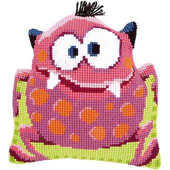 Pink Monster I Shaped Cushion Cross Stitch Kit-15.75