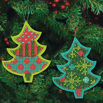 Jolly Tree Ornaments Felt Counted Cross Stitch Kit 4