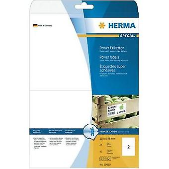 Herma 10910 Labels (A4) 210 x 148 mm Paper White 50 pc(s) Permanent Adhesive labels (extra strong), All-purpose labels I