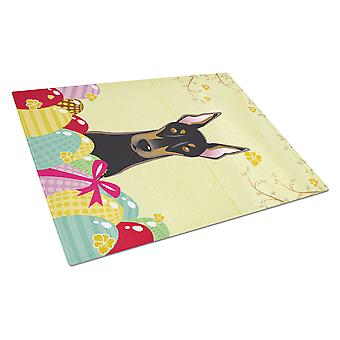 Doberman Easter Egg Hunt Glass Cutting Board Large BB1927LCB