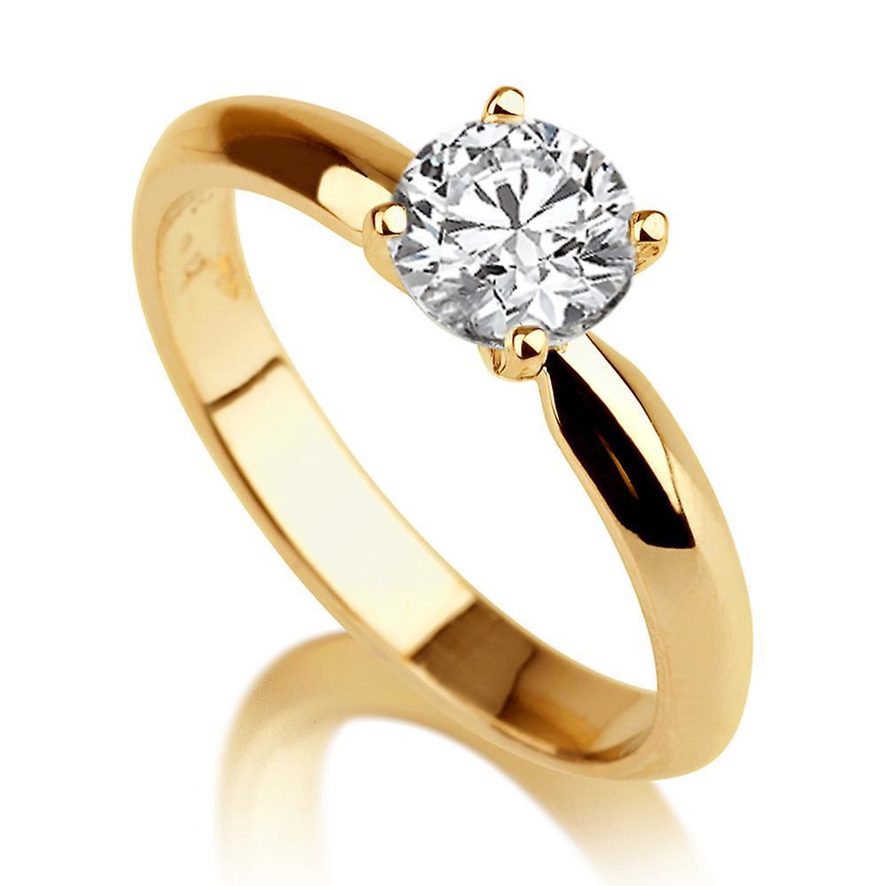 1 3 4 Carat H SI2 Diamond Engagement Ring 14k jaune or Classic Ring Vintage Ring Round Brilliant
