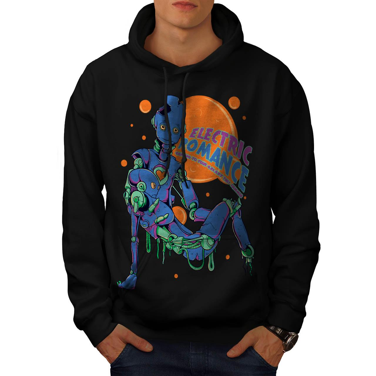Electric Romance Funny Men Black Hoodie | Wellcoda