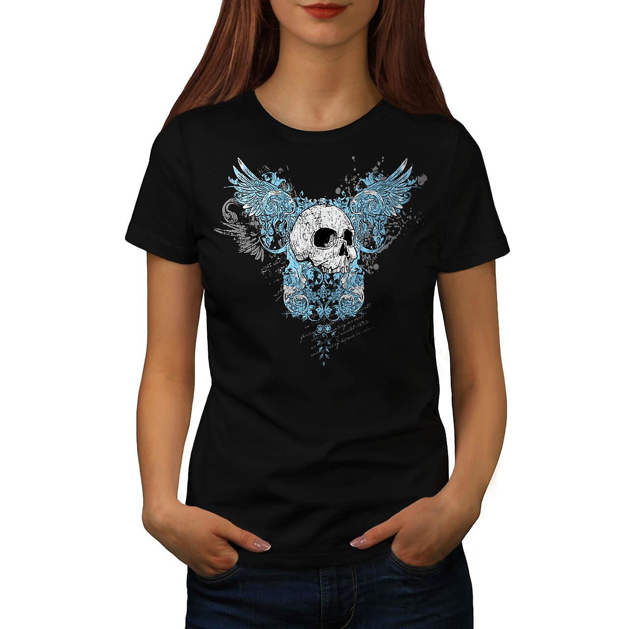 Hell Heaven Skull Jaw Angel Wing Women Black T-shirt | Wellcoda