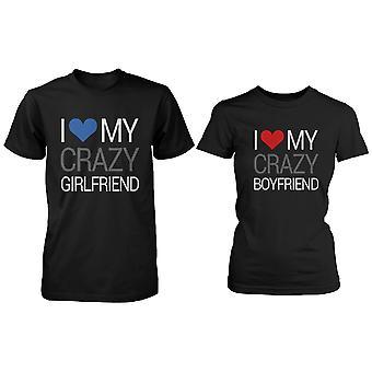Jag älskar min Crazy par T-Shirt (två skjortor) matchande par T-Shirts