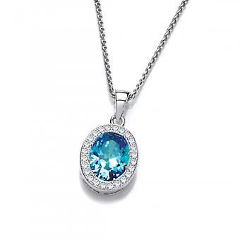 Cavendish French Silver and Blue Topaz CZ Timeless Elegance Pendant